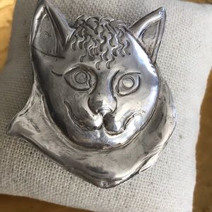 cat pin brooch sterling silver hand made